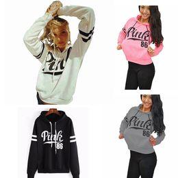 Wholesale Warm Women Sweaters - Pink Letter Long Sleeve Hoodie With Hat Girls Sport Sweater Winter Warm-up Top Clothes Women Hoodie Sweatshirts AAA280