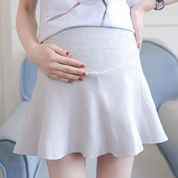 Pengpious verano maternidad cintura alta abdomen falda plisada color sólido  oficina dama eleskorts flare dobladillo más faldas de tamaño fa4a7c4a60cd