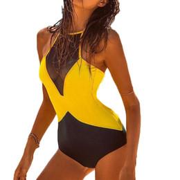 Wholesale Polyester Nets - 2018 New Siamese Net Yarn Bikini Set Women Swimsuit High Waist Surf Swim Retro Feminino Push Up Swimwear