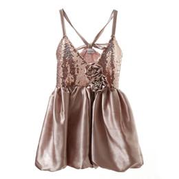 Simpatiche bretelle per le ragazze online-2018 New Fashion Girls Dresses Bambini Suspender Paillettes Fiori Bacchetta Carino Summer Princess Kids Dress