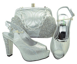 Wholesale Silver High Heels For Women - Silver Color Italian Shoe with Matching Bags Shoe and Bag Set for Party In Women Italian Matching Shoe and Bag Set with Rhinestone M006