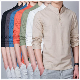 Wholesale Man Chinese Collar Shirts - 7 Colors Men Solid Color Blouse Loose Linen Chinese Traditional Standard Collar Casual T-shirts Top Long Sleeve Casual Shirts CCA9116 5pcs