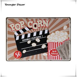 vintage oil signs Coupons - Hot Buttered With Corn Vintage Home Decor Pub Bar Cafe Cinema Movie Theater Wall Oil Stickers Retro Art Tin Signs YA126