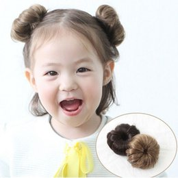 Wholesale Girls Hair Extension Clips - New 2Pcs Sweet Baby Girls Curly Natural Hairpiece Clip Wig Hair Ring Bun Hair Extension Tool oc27
