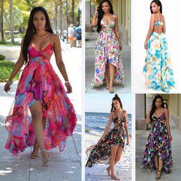 2019 broderie à la mode Bohême Mousseline de Soie Robes Mode D'été Plage Halter Longue Robe Pour Les Femmes Sexy Plage Plus La Taille Robe Pour Voyager