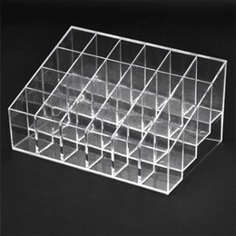 Wholesale Wholesale Shoe Display Stand - 24 Makeup Lipstick Cosmetic Storage Display Rack Holder Organiser Clear Stand