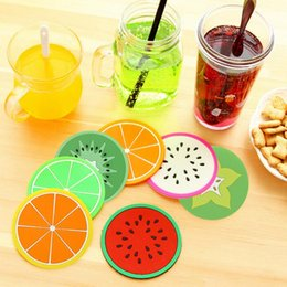 Wholesale Round Restaurant Tables - Wholesale- * Fruit shape creative cup pad tableware silicone coaster placemats cup mat table heat resistant restaurant home kitchen tool