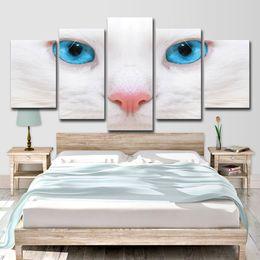 2019 cat eyes fotos Cuadros de la lona Wall Art Pictures Decoración de la habitación de moda 5 piezas White Cat Blue Eyes Posters HD Impreso cat eyes fotos baratos