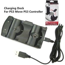 Контроллер перемещения онлайн-Бесплатная доставка 2 в 1 двойной зарядки док зарядное устройство для PS3 контроллер или PS3 двигаться черный цвет с подарочной коробке пакет
