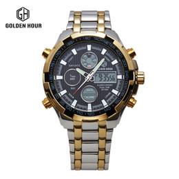 Wholesale water resistant watch analog alarm - 2017 Hot Stainless Steel golden Watch Men watch Analog Digital Alarm Display 3 ATM Water Resistant relojes deportivos hombres