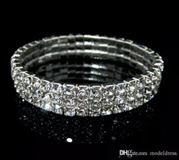 Wholesale cheap silver bangles - Rows 3 Tennis Bracelet Elegant Stretch Bridal Bangle Silver Rhinestones Cute Prom Homecoming Wedding Party Jewelry Bracelet Cheap In Stock