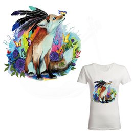 Wholesale Butterfly Fox - American Indian style Fox and butterfly iron on patches for clothes DIY T-shirt jacket hoodie Grade-A Thermal transfer stickers