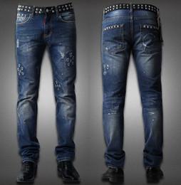 Wholesale Men Low Waist Jeans - Men's Low Waist Punk Jeans Rivet Applique Leather Splice Waist Damage Hole Distressed Wash Denim Trousers
