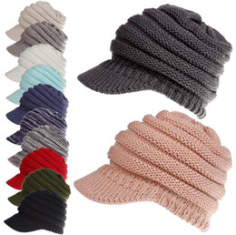 Wholesale tie dye beanie - Winter Ponytail Hats 12 Colors Knitted Baseball Beanie Warm Caps Crochet Hat Messy High Bun Cap OOA5319