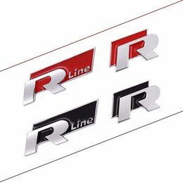 Wholesale Emblem Sticker Vw R Line - R Line METAL Badge for Volkswagen VW Rline 3D Sticker Emblem Car Styling Auto Fashion Decoration