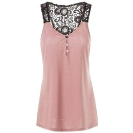 e0f0ad7ae76 ISHOWTIENDA Long tank top women 2018 summer lace Patchwork sleeveless top  camisole Button plus size tank tops women