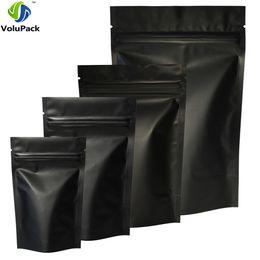 Wholesale zip lock black - High Quality 100pcs Heat Seal Zip Lock Package Bags Aluminum Foil Mylar Tear Notch Matte Black Stand Up Bag Wholesale