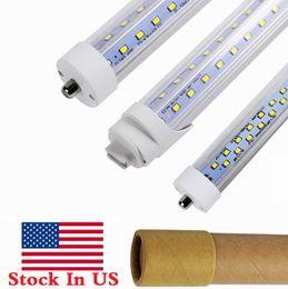 Luces de tubo plano led online-Tubos de luz led en forma de V de 8 pies R17D 65W T8 8 pies FA8 Tubos de un solo pin conducidos Filas dobles planas Luces fluorescentes led de 72W CA 85-265V + Stock en EE. UU.
