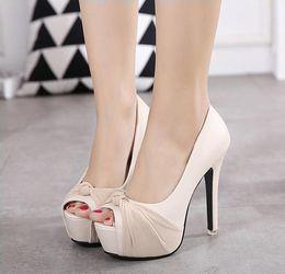 Argentina Sweet Chiffon Knot Rhinestone Plataforma Ultra High Heels Sandals Women Ivory Wedding Shoes Ivory Pink Black Tamaño 34 a 39 Suministro