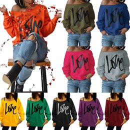 Wholesale Casual Loose Blouses - valentine day Bright color Long Sleeve Blouse Women Love Letters Autumn One Shoulder Off Loose Tops Cotton Casual Outwear Maternity Tops