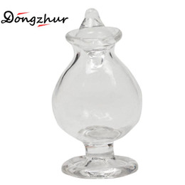 Wholesale Dollhouse Miniature Glasses - Wholesale- Dongzhur Dollhouse Kitchen Miniatures 1:12 Accessories Small Tiny Cute Transparent Candy Bottle With A Transparent Glass Cone