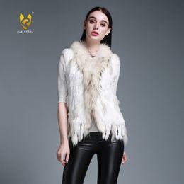 Wholesale orange coat fur collar - Fur Story 020101M New colors knied real rabbit fur vest raccoon collar trim hand knied coat Natural style Vintage Tassel