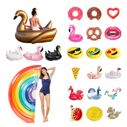 Wholesale Swim Ring Adults - Wholesales 42 Styles 70~275cm Unicron Flamingo Inflatable Giant Pool Floats Tubes Swimming Pool Gadgets Toy for Adults Swim Ring Kids Toys