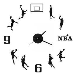 2019 números de adesivo de parede basquete livre Shipping2019 3D DIY Relógio adesivo Decal Modern Assista sala de estar Decoração Relógio