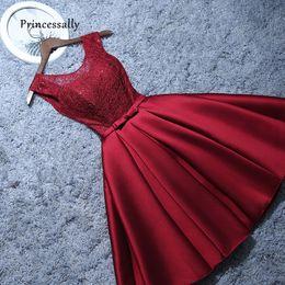 Nuevo Vestido De Noche Corto De Encaje De Satén Vino Rojo Gris Una Línea De Novia Vestido Formal Fiesta De Graduación Vestidos Robe De Soiree