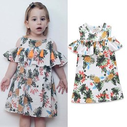 Wholesale Cute Babies Christmas Dress - Ins New cute printing Girls Baby Clothing Infant Dresses Princess Dresses Fashion Summer Dresses sweet Toddler Clothes Girl Dress A1557