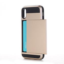 Canada Vente en gros Business Phone Cases pour iPhone X XS Max XR Slide Armor Wallet Carte Slots Couverture de support de téléphone pour iPhone 7 8 Plus 6 s Free DHL Offre