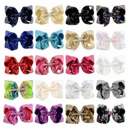 glitter bling baby Coupons - 20 Colors Party Hair Bows Clips JOJO Bling Sparkly Glitter Big Hair Bows Alligator Hair Clips Bowknot Hairpins for Baby Girls Children H959R