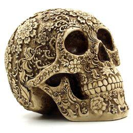 I crani dei mestieri della resina online-Halloween Home Bar Tavolo grado Decorativo Craft cranio umano Resin Mask Cluster Fiore Skeleton umano decorazione con scatola