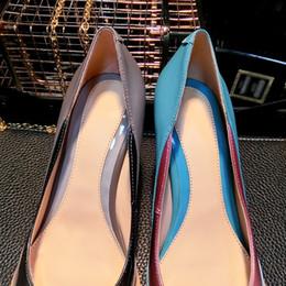 обувь на день Скидка Острым носом туфли на высоком каблуке скольжения на Женщина сексуальные насосы лоскутное единственным свадебное платье ночной клуб 8 см шпильках супер высоких каблуках девушки Знакомства