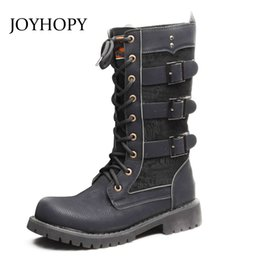2019 мужские сапоги Korean Men Round Toe High Tube Boots PU leather  Shoes Mens Metal Buckle Boots Men's Motorcycle Botas Hombre AMB2035 скидка мужские сапоги