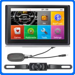 Wholesale Handsfree Camera - HD 7 inch Car Navigation Bluetooth Handsfree GPS Navigator AVIN Wireless Backup Rearview Camera 8GB TTS POI Maps With Sunshade Gift