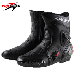 Wholesale man riding boots - PRO-BIKER SPEED BIKERS Motorcycle Boots Wear-resistant Microfiber Leather Racing Motocross Motorbike Riding Mid-Calf Boots Shoes