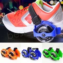 Wholesale kids skate shoes wheels - Children Scooter Kids Sporting Pulley Lighted Flashing Roller Wheels Heel Skate Rollers Skates Wheels Shoe Skate Roller GGA547 50pairs