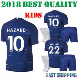 Wholesale custom cotton shirts - 2018 HAZARD Home away 3rd kids kit soccer jersey 18 19 child MORATA FABREGAS OSCAR MIAZGA WILLIAN TERRY custom football shirt thai quality