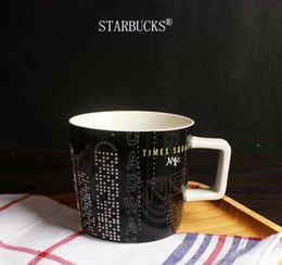 Wholesale coffee time - Classic black Starbucks New York Time Square City Mug Coffee cup 14oz ceramic mug with coaster