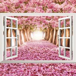 Фрески в океане онлайн-3d ocean beach цветок sunflow поддельные окна стены стикеры гостиная украшения diy главная наклейки море пейзаж росписи искусства плакаты