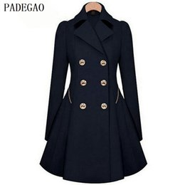 Wholesale Trench Coats Windbreakers - PADEGAO navy double breasted trench coat turn down collar pocket slim long sleeves autumn winter women windbreakers trench coats