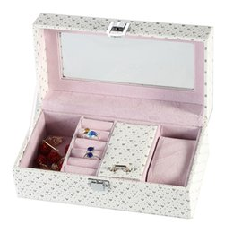 Wholesale white leather ring display - 4 Slots Personal Watch Box European PU Leather Jewelry Storage Box Fashion Package Gift Cases White Display Ring Boxes C017