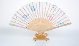 Wholesale Chinese Silk Ornaments - Chinese Silk Flower Butterfly Folding Hand Fan Pocket Fan Birthday Party Decoration Favors Gift Women Dancing Hand Fans Decor