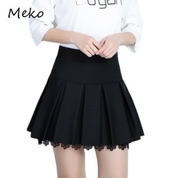 Wholesale pop line - New Spring Summer Women's Skirt Korean Pop Fashion Short Skirt Pure Black Pleated A-skirt Short Sexy Lace Summer CW63