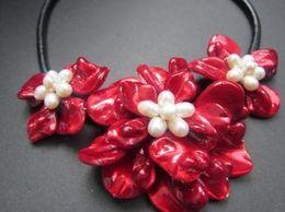 Collar de flores hechas a mano con conchas de perlas reales, rosa perla blanca y rosa con joyas de flores de conchas de perlas desde fabricantes