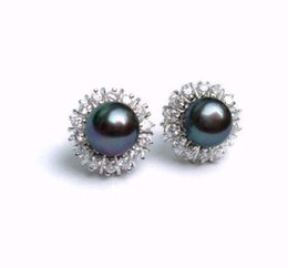 Wholesale Black Pearl Chandelier Earrings - Latest 8-9mm Akoya Black Natural Pearl Earring fashion Earrings Vintage Earring real Natural