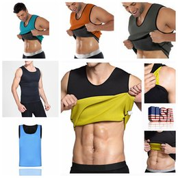 Wholesale Sauna Slimming Tummy - Men Body Shaper Vest Gym Neoprene Sauna Ultra Thin Slimming Corset Sweat Shirt Body Shaper Slim Tummy Belly AAA98
