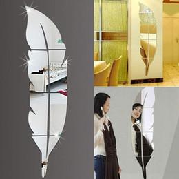 2019 espelho de parede moderno prateado Criativo 120 * 30 cm DIY Modern Plume Estilo Pena Acrílico Espelho Adesivos de Parede Decoração do Quarto de Ouro Prata