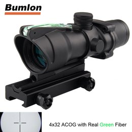 Wholesale Fiber Optic Sight Rifle - ACOG 4x32 Optics Sight Red Fiber Optical Scope Duel Illuminated Riflescope Airsoft Hunting Rifle Shotgun Rifle Scope RL6-0006